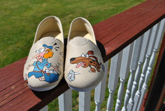 Hey Mail carriers these hand painted sneakers by AnnetasticDesigns, $40.00