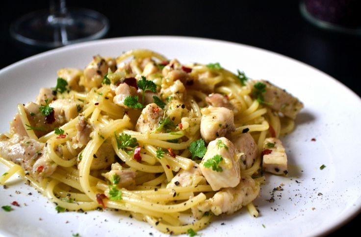 Fokhagymás-csirkés spagetti recept