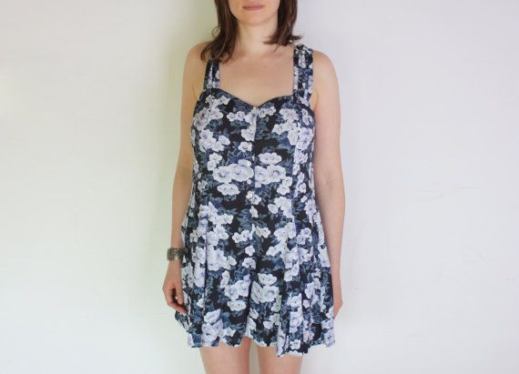 80's floral playsuit with braided back black by WoodhouseStudios, $43.00