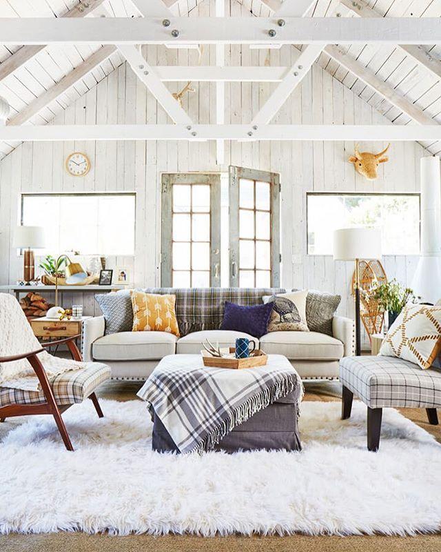 Farmhouse Interior White Living Room With High Beamed Ceilingsu2026