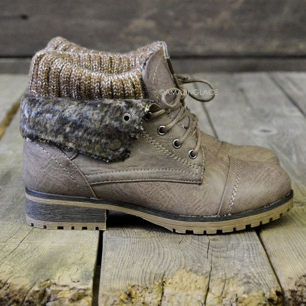 Mountain Trek Taupe Cuffed Ankle Boots...perfect paired with fuzzy leg warmers, leggings, and a big flannel