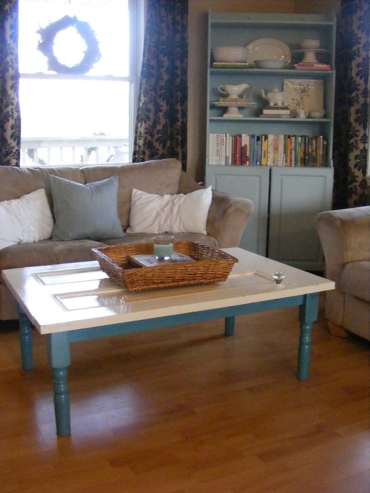 Old Door Coffee Table made by Kelly from The Complete Guide to Imperfect Homemaking blog