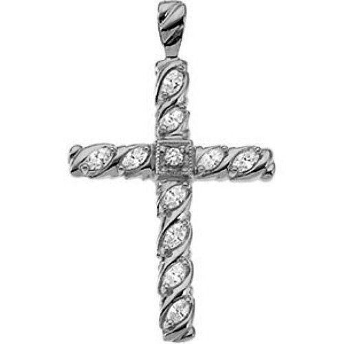 Platinum Diamond Cross Pendant - 35.00x25.50mm Gems-is-Me. $2115.60. This item will be gift wrapped in a beautiful gift bag. In addition, a 'gift message' can be added.. FREE PRIORITY SHIPPING