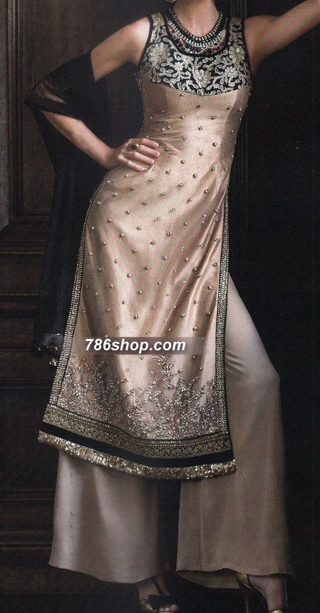 Light Golden Raw Silk Suit   786Shop.com   Pakistani Indian Dresses.