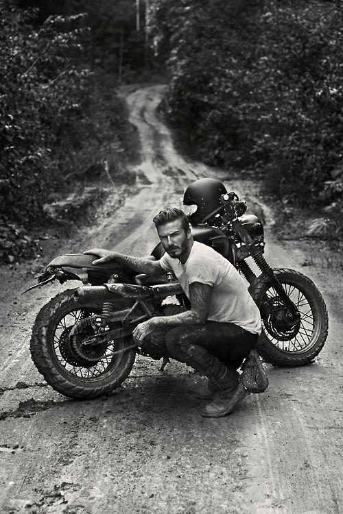 David Beckham with his scrambler - by Anthony Mandler - via www.murraymitchell.com