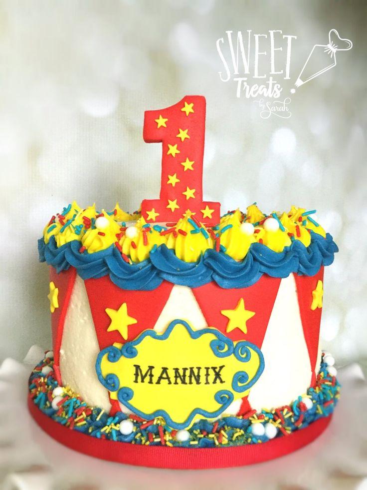 Carnival Smash Cake #circusbirthday #carnivalbirthday