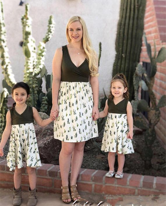 415f4ece6bb0ee Mother daughter dresses Summer Sleeveless Cactus Print Mini Dress V-Neck Mom  and daughter dress Family Look mom and daughter