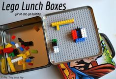 """Lego lunchboxes on the go!  Awesome!  I even have the lunchboxes. I will be making these as Easter """"baskets"""""""