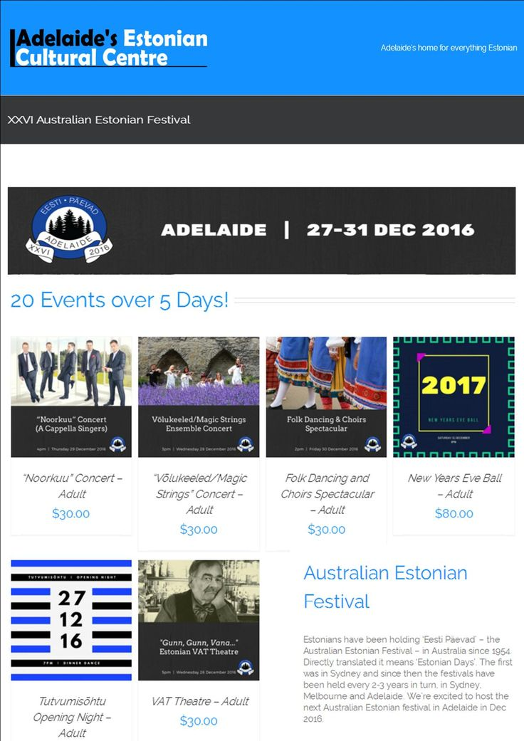 Excited to be adding another event to my promo calendar - Estonian Festival New Years Eve Ball http://adelaide.eesti.org.au/australian-estonian-festival/ #adlfringe #loctran