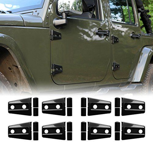 IPARTS 8 Pcs Black Door Hinge Cover for 4-Door Jeep Wrangler JK JKU Unlimited Rubicon Sahara X Off Road Sport Exterior Accessories Parts 2007 2008 2009 2010 2011 2012 2013 2014 2015 2016 2017. For product info go to:  https://www.caraccessoriesonlinemarket.com/iparts-8-pcs-black-door-hinge-cover-for-4-door-jeep-wrangler-jk-jku-unlimited-rubicon-sahara-x-off-road-sport-exterior-accessories-parts-2007-2008-2009-2010-2011-2012-2013-2014-2015-2016-2017/