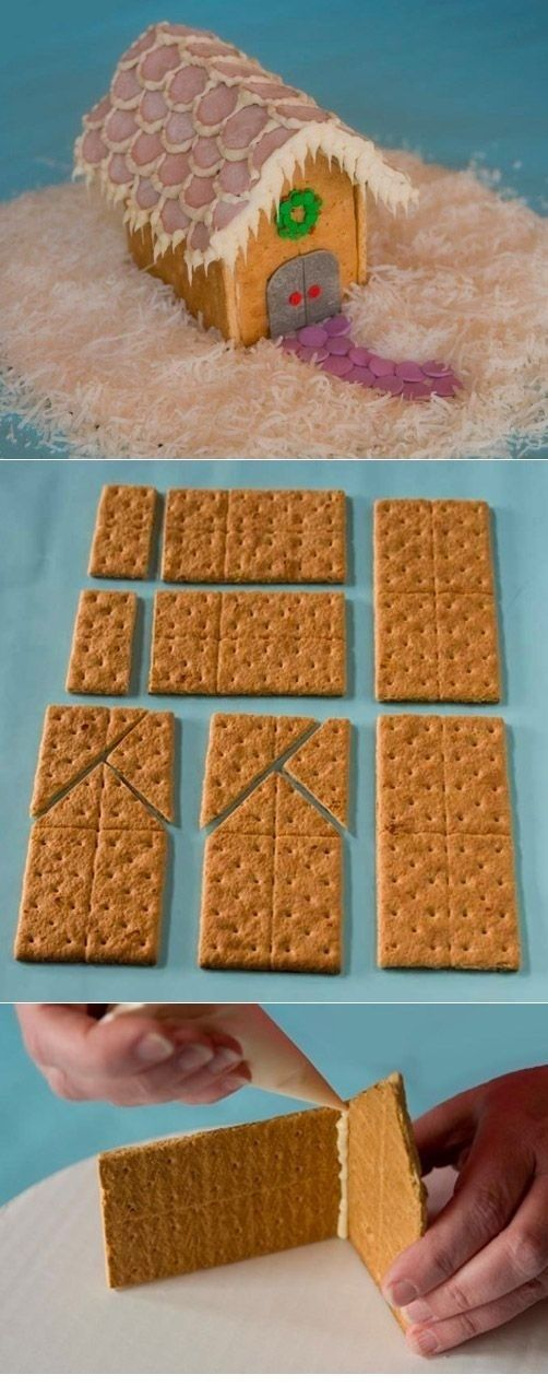 "Use graham crackers to make a miniature ""gingerbread"" house."