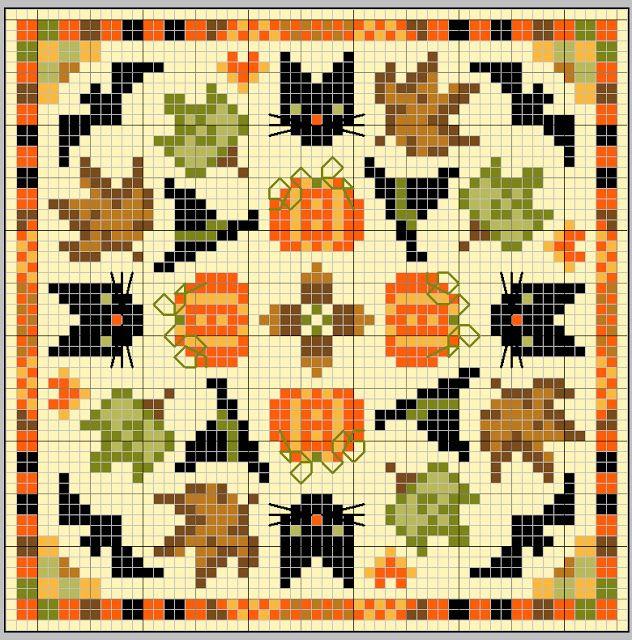 gazette94: BISCORNU D' AUTOMNE--love these little cross stitches!! Short and sweet.
