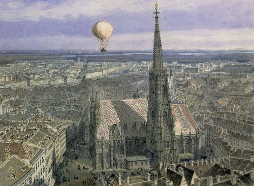 Balloon flight over Vienna, 1847, by Jakob Alt
