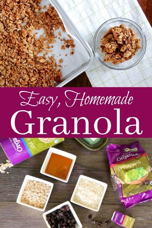 Easy Homemade Granola | Recipe | granola | Recipes, Granola, Organic recipes