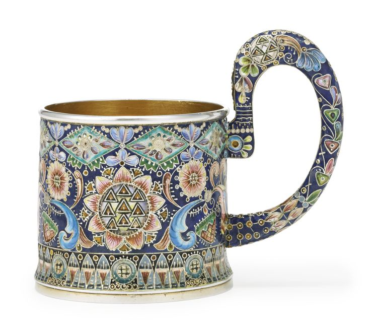 A Russian gilded silver and shaded enamel tea glass holder, Fedor Rückert, Moscow, 1908-1909 | Lot | Sotheby's