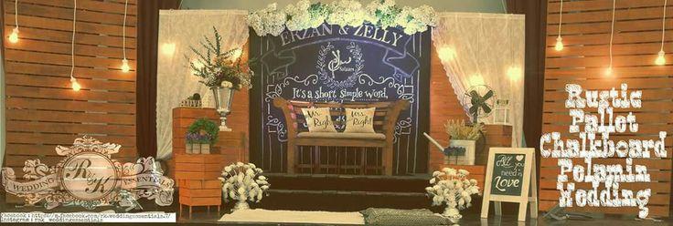 Pelamin rustic chalkboard designed by the pengantin itself..  R&K Wedding Essentials Facebook : https://m.facebook.com/rk.weddingessentials.7/ Instagram : rnk_weddingessentials Contact : 86133405 \ 90905607 #pelamin #decor #deko #kawin #sg #singapore #event #drapes #hydrangeas #floral #flow #rustic #voiddeck #mph #cc #RnKwe #dekorartist #pallets #wedding #theme #pastel #blink #stage #kerusi #meje #perkakas #dapur #rental #essentials