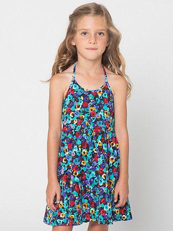 Printed Kids Nylon Tricot Skater Dress. American Apparel