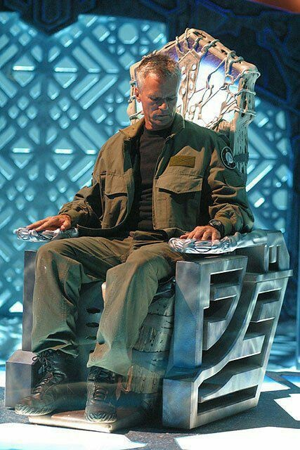 Stargate Atlantis Col Jack O'Neill in the big chair       http://buyactionfiguresnow.com