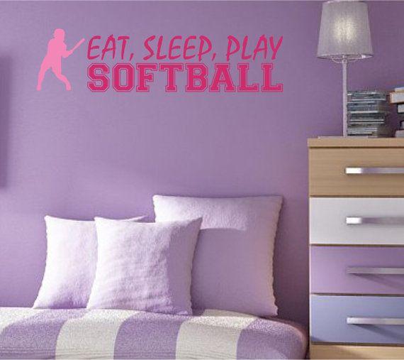 Softball Quote Wall Decal Eat Sleep Play Softball by NewWaveSigns, $22.00