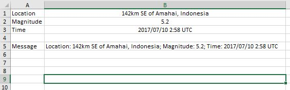 Getting the Latest Earthquake Alert Using the WEBSERVICE and FILTERXML Functions in Excel by David Hager