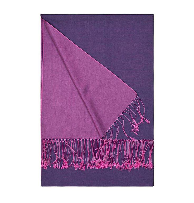 Aker Double-Sided Silk Shawl #390 Fuchsia / Purple