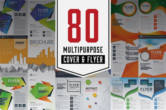 80 Multipurpose Cover & Flyer by Raftel on @creativemarket