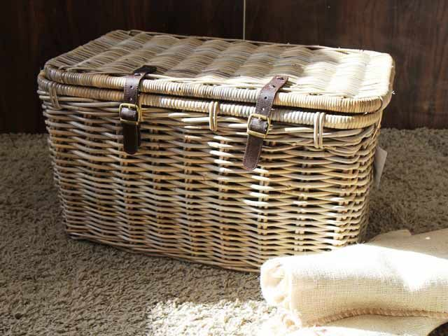 Gloucester Rectangular Wicker Trunks With Lid #wicker #storage #basket  #linen