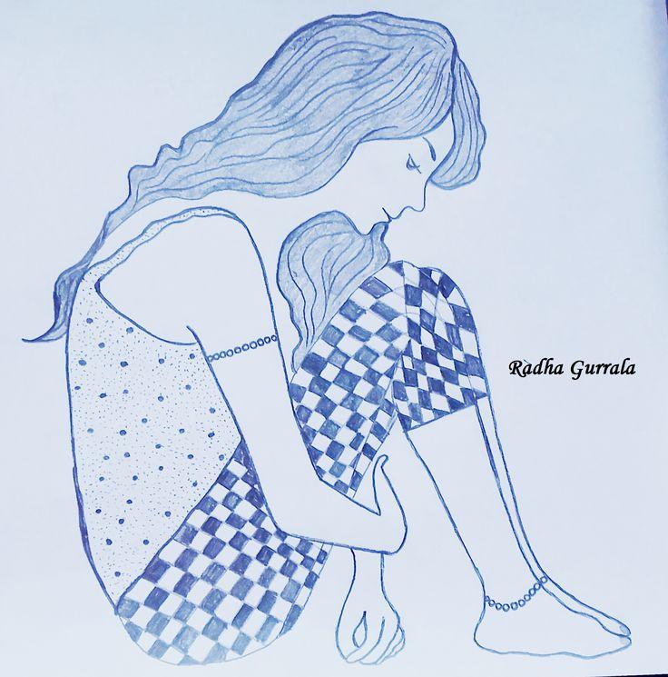 Pencil sketch of a girl by Radha Gurrala (G G B)