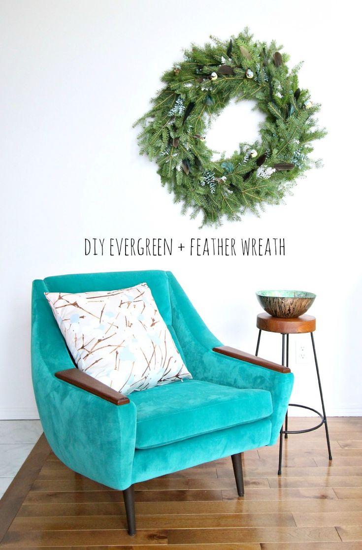 DIY Evergreen Feather Wreath #Evergreen #Wreaths #HolidayDecor #ChristmasDecorating #Diy #Decor #Christmas #ChristmasCrafts #Craft #DiyDecor #Crafty