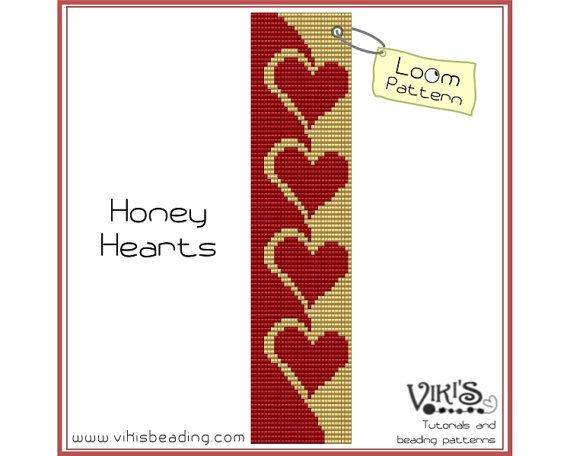 Bead Loom Pattern - Honey Hearts