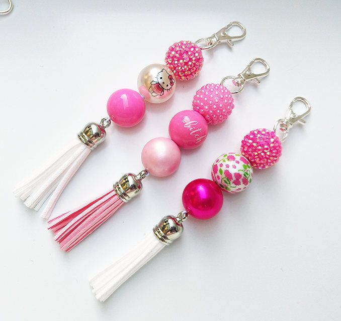 Planner Charm Accessory * Beaded Purse Charm * Planner Tassel  * Journal Charm * Key Chain * Hello Kitty * Pink * White * Flowers * by ZarasBabyBoutique on Etsy
