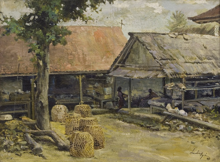 Leslie Goh, Chicken Coops in Kampung Compound, near Monkey Forest Road, Ubud, Bali, Oil on canvas, 2005