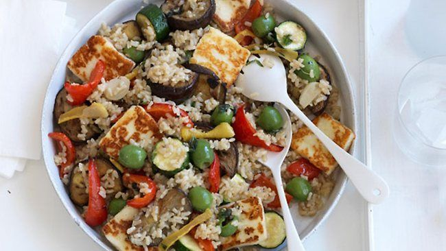 Recipe of the day - roast vegetable, haloumi and rice salad