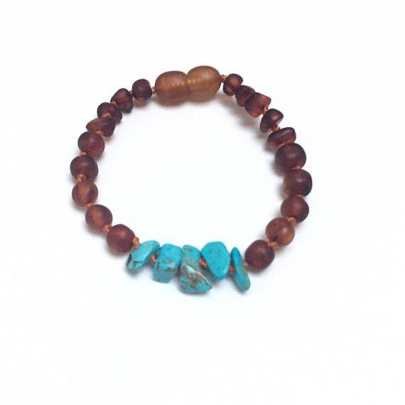 Raw Cognac Amber Teething Bracelet, Turquoise Howlite