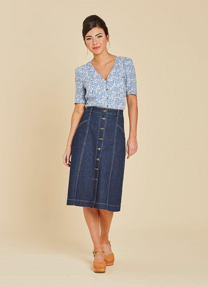 4783ddf6414 Lottie Floral Button Tea Blouse - Blue