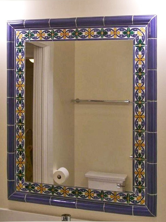 Talavera tile framing mirror