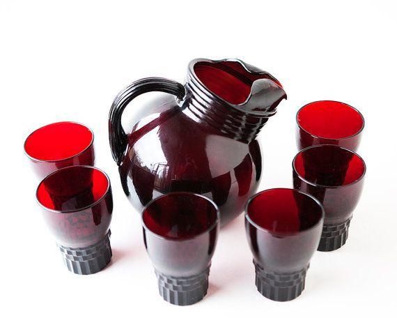 Set vintage glass set ruby glass 1950-60 ruby by AlbertsAttic