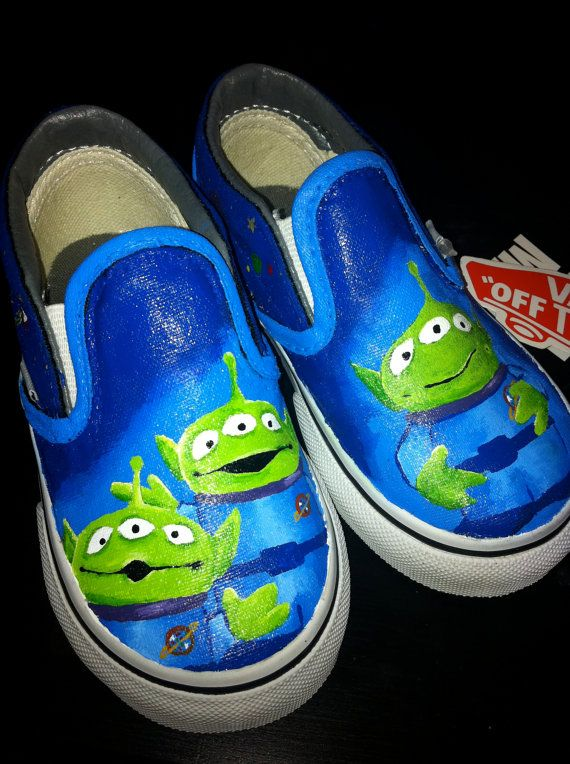 Toy Story Slippers : Custom hand painted shoes aliens from toy story by rytee