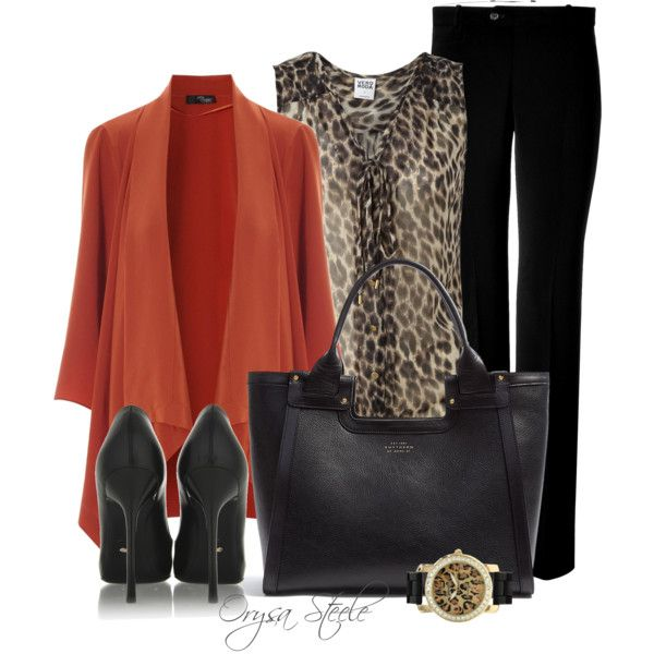 "Church Outfit :) Leopard Black Orange Gold Outfit ""Seeing Spots"" by orysa"