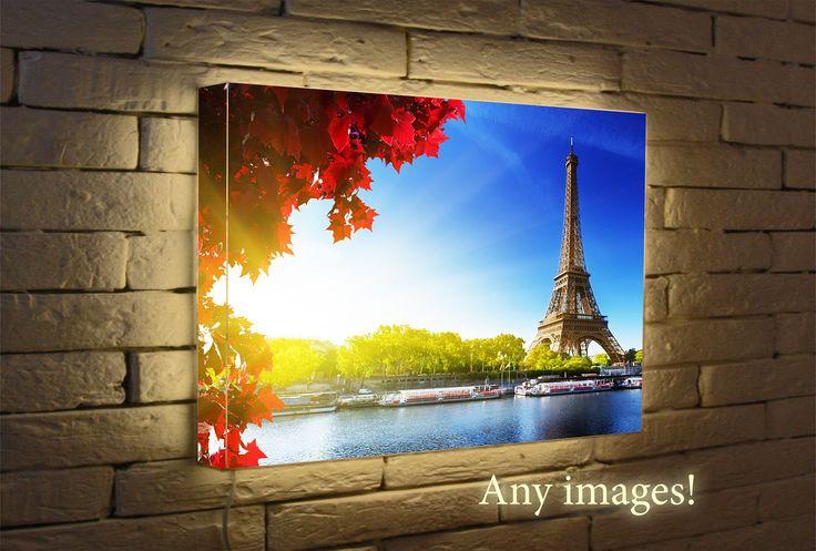 Paris Eiffel Tower Light print - Custom Night Light - Led light - poster art - wall Lamp Photo - Box Led - gift by CvezalFreyle on Etsy