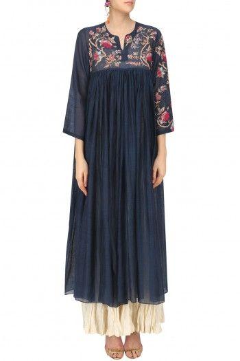Prama by Pratima Pandey Navy Blue Dress and Crushed Anarkali Set #happyshopping #shopnow #ppus