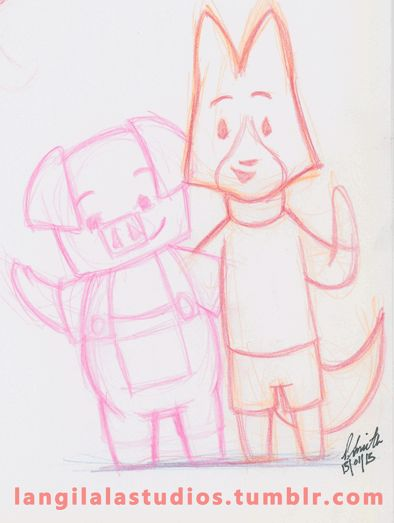 As tired as I am, I couldn't resist doing a quick sketch of Pig and Fox from The Dam Keeper for today's Sketch Dailies topic.