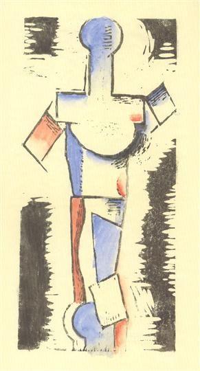 Torzo mladého muže. 1914, dřevoryt kolorovaný akvarelem, 21 x 10 cm