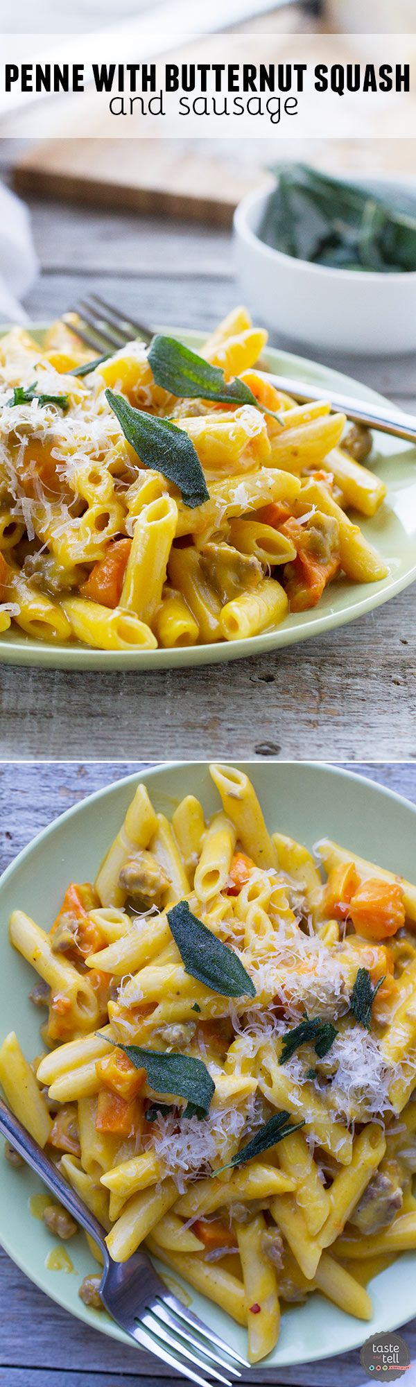 Nothing feels more comforting than this Penne with Butternut Squash and Sausage - with a double dose of butternut squash in both the pasta sauce and then topped with roasted squash.