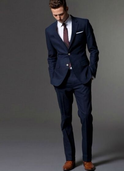 Navy Linen Suit Mens London Fashion Trendy