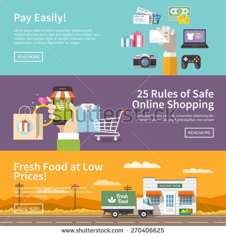 Beautiful set of colorful flat vector banners on the theme: online shopping…