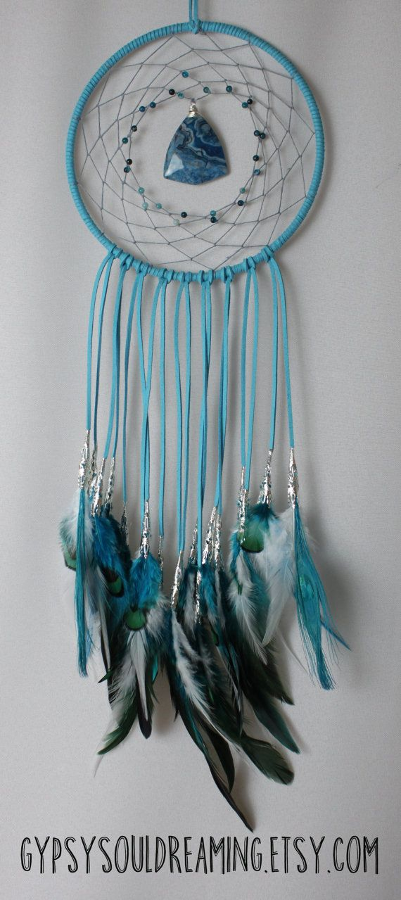Turquoise Blue Dream Catcher with Lace Agate, Hemp, Rooster Feathers, and Peacock Feathers