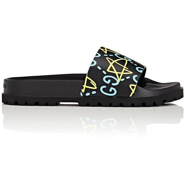 Gucci Men's GucciGhost-Print Slide Sandals ($350) ❤ liked on Polyvore featuring men's fashion, men's shoes, men's sandals, mens shoes, mens leopard print shoes, gucci mens shoes, mens open toe shoes and mens sandals