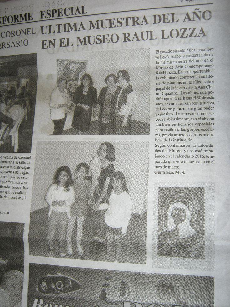 INFORME ESPECIAL NOTA Ana Clara Diquattro MUESTRA MUSEO LOZZA.  INFORME ESPECIAL CUMPLE 25 AÑOS.