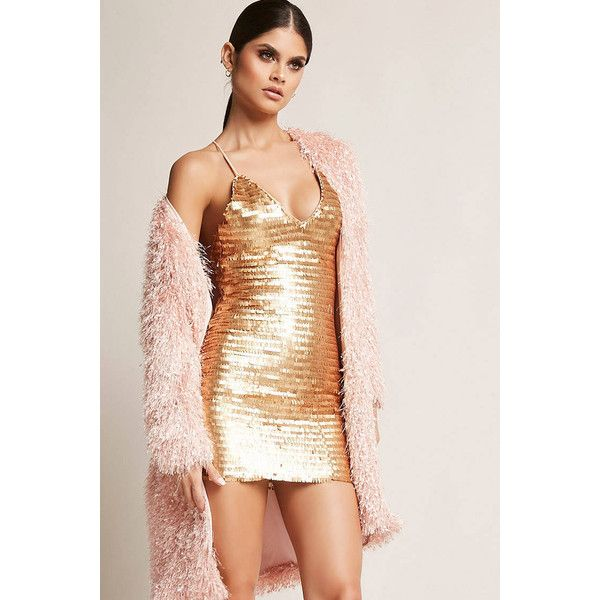 Forever21 Sequin Mini Cami Dress ($45) ❤ liked on Polyvore featuring dresses, gold, beige cocktail dress, sequined camis, v-neck sequin dresses, forever 21 dresses and sequin dress